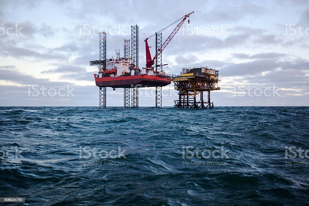 Special purpose ship and oil platform in the USA stock photo