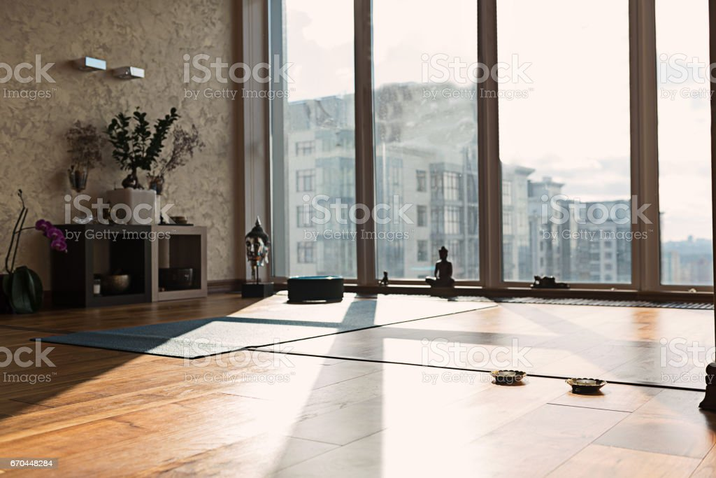 Special room for yoga in apartment stock photo