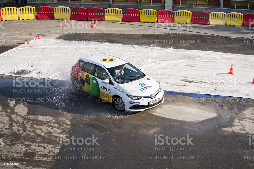 NAVAK special safety car driving school. Safety driving. stock photo