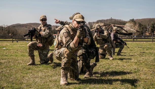 özel askerler eylem Airsoft oyun Seal takım stok fotoğrafı