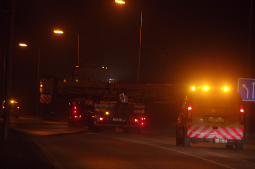 Kerkrade,  the Netherlands, -  October 08, 2015.  Transporting under guidance of a wooden bridge construction to an other location.