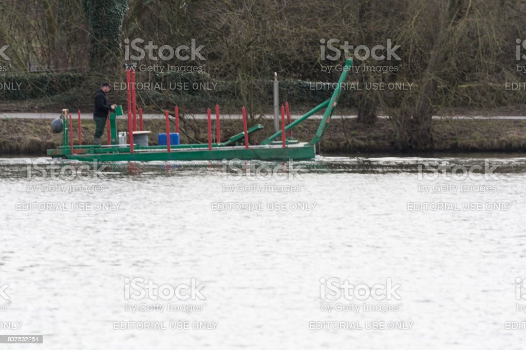 Special vessel, working platform in labor input stock photo