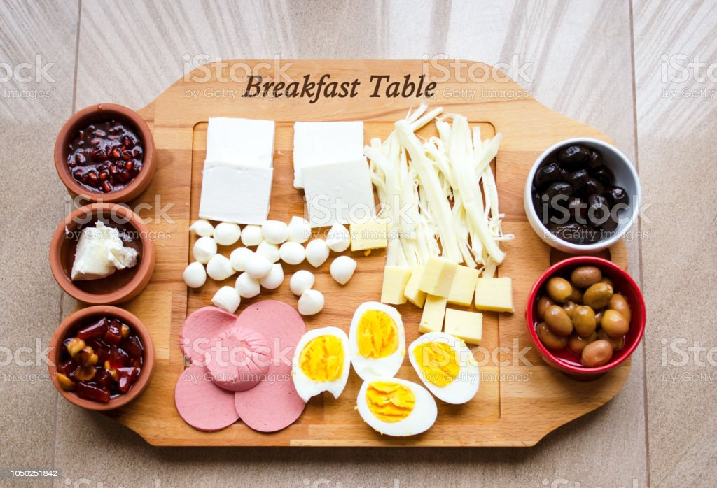 special wood breakfast table stock photo