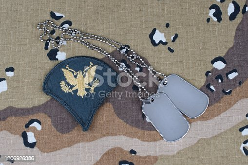 istock US ARMY Specialist rank patch and dog tags on desert camouflage uniform background 1206926386