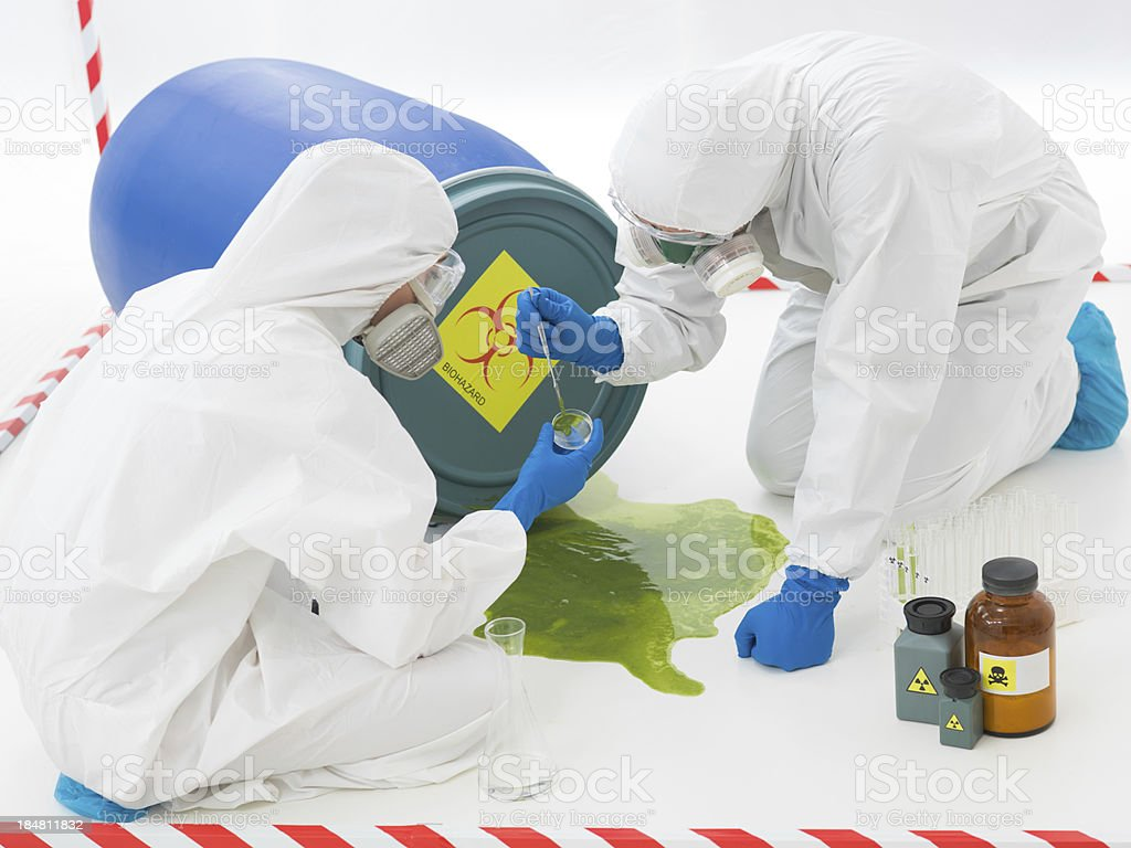 specialists at biohazard accident royalty-free stock photo
