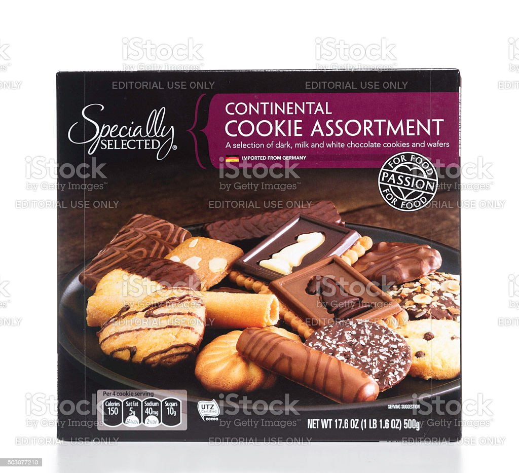 Specially Selected Continental Cookie Assortment box stock photo