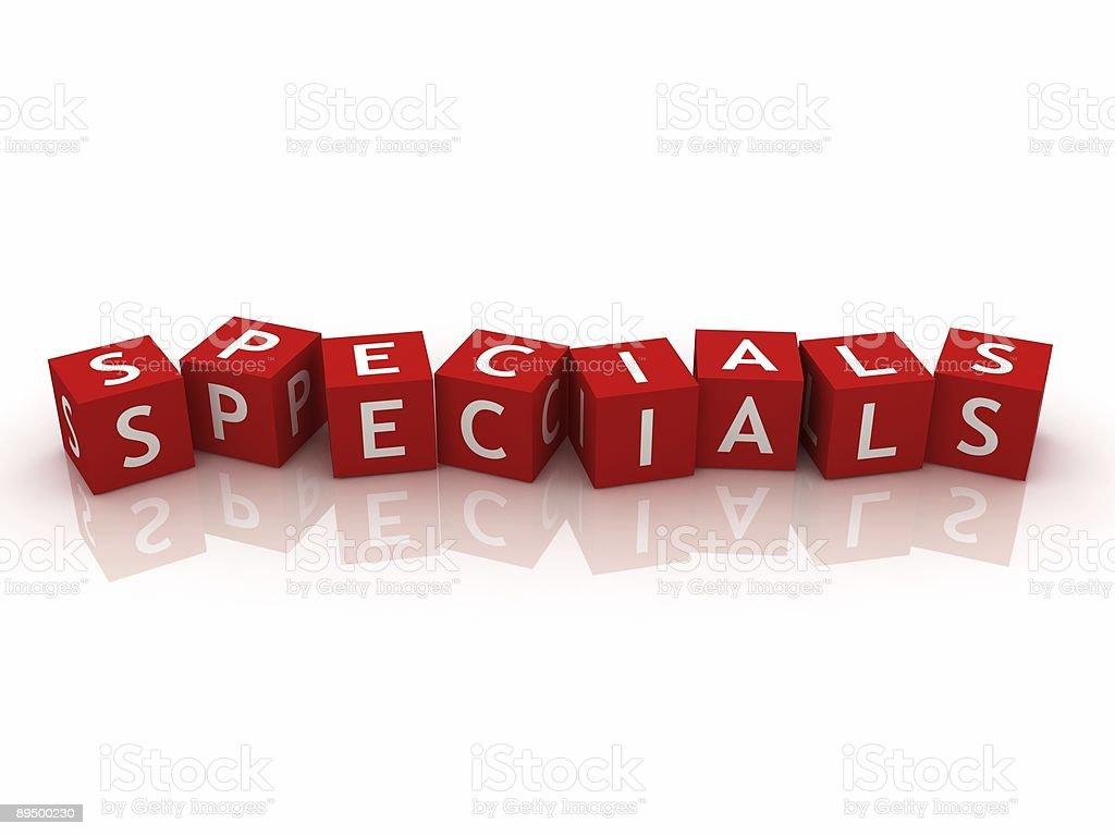 Specials written on red blocks royaltyfri bildbanksbilder