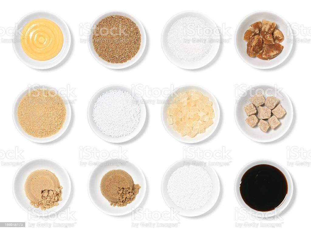 Specialty Sugars Isolated Collection Assortment stock photo