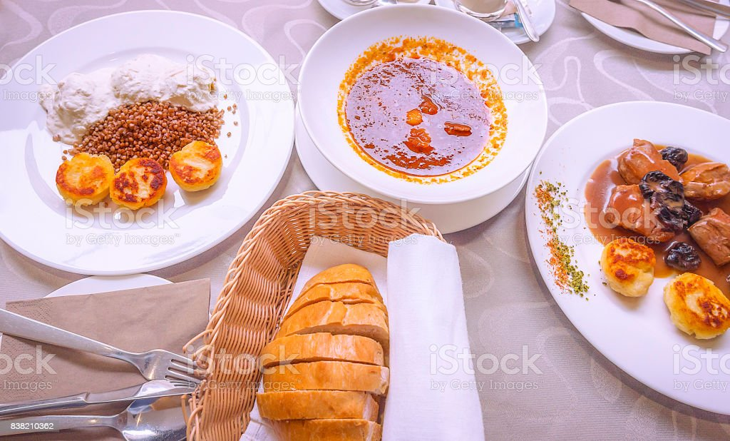 Specific Slovenian food with meat and sauces stock photo