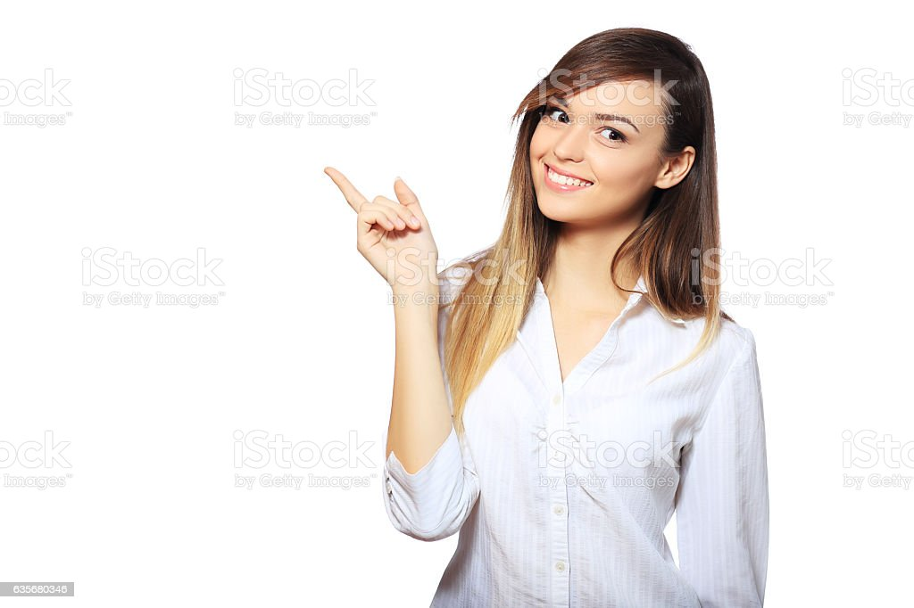 specifies with finger stock photo