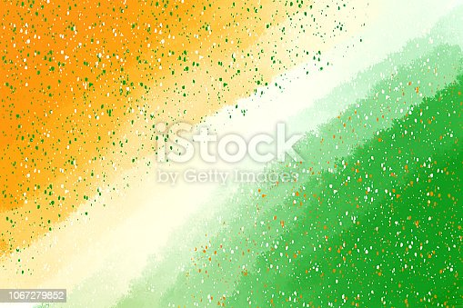 istock Speckles And Brush Strokes Combine To Create a Tricolor Background. Painted Indian Flag Colors 1067279852