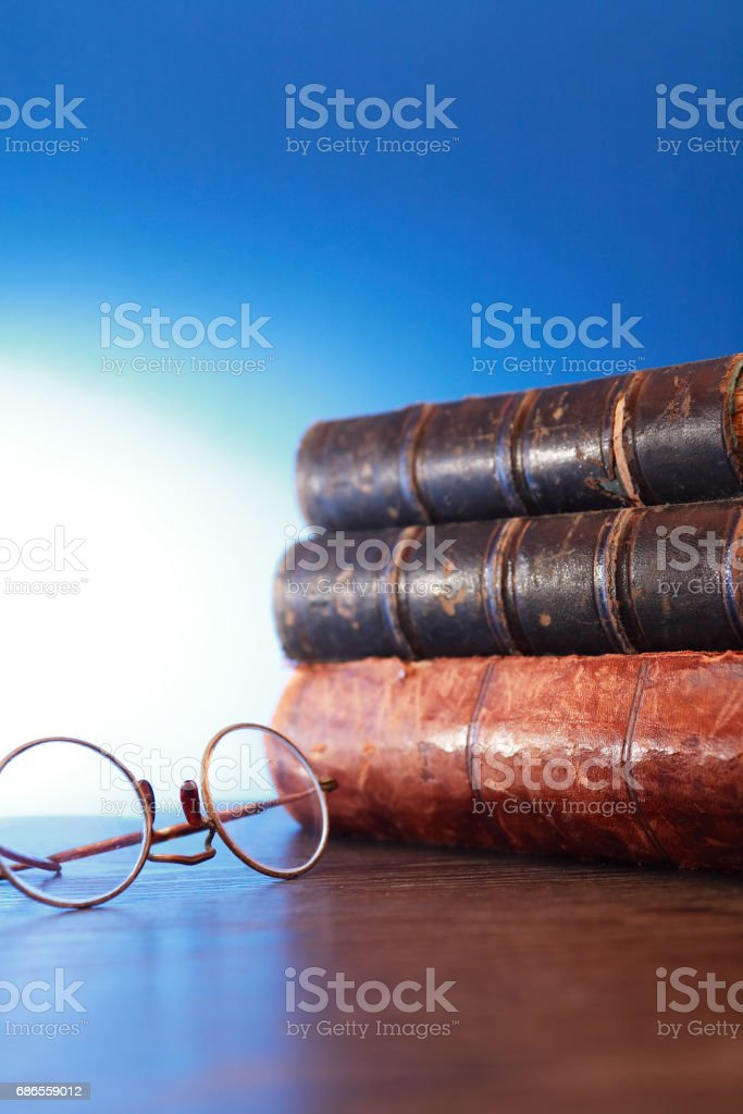 Spectacles And Books stock photo