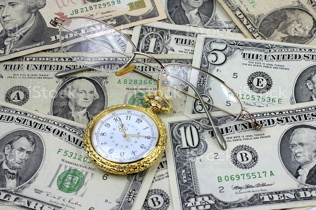 spectacles dollars watch royalty-free stock photo
