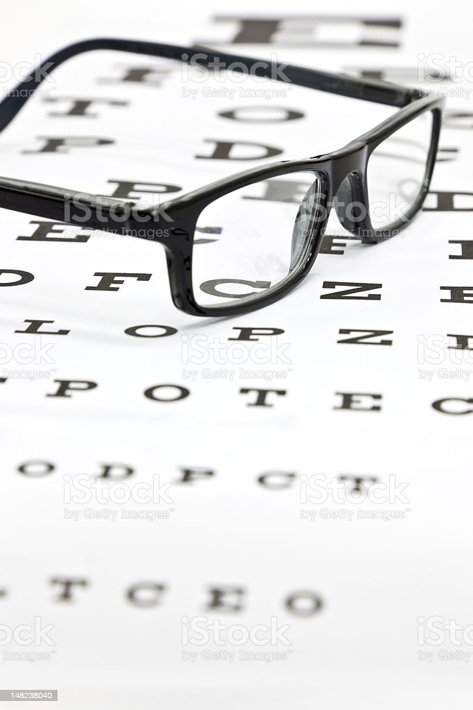 Spectacles on an eye test chart royalty-free stock photo