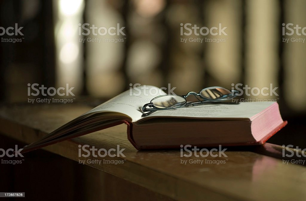 Spectacles on Hymn Book stock photo