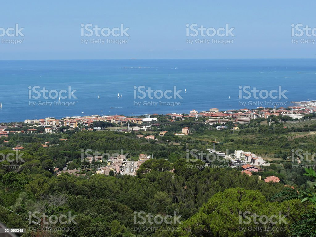 Spectacular aerial panorama of Livorno city stock photo