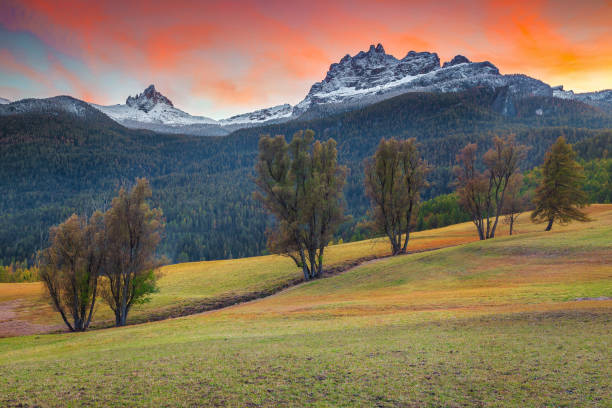 Spectacular autumn landscape in Dolomites near Cortina d Ampezzo, Italy stock photo