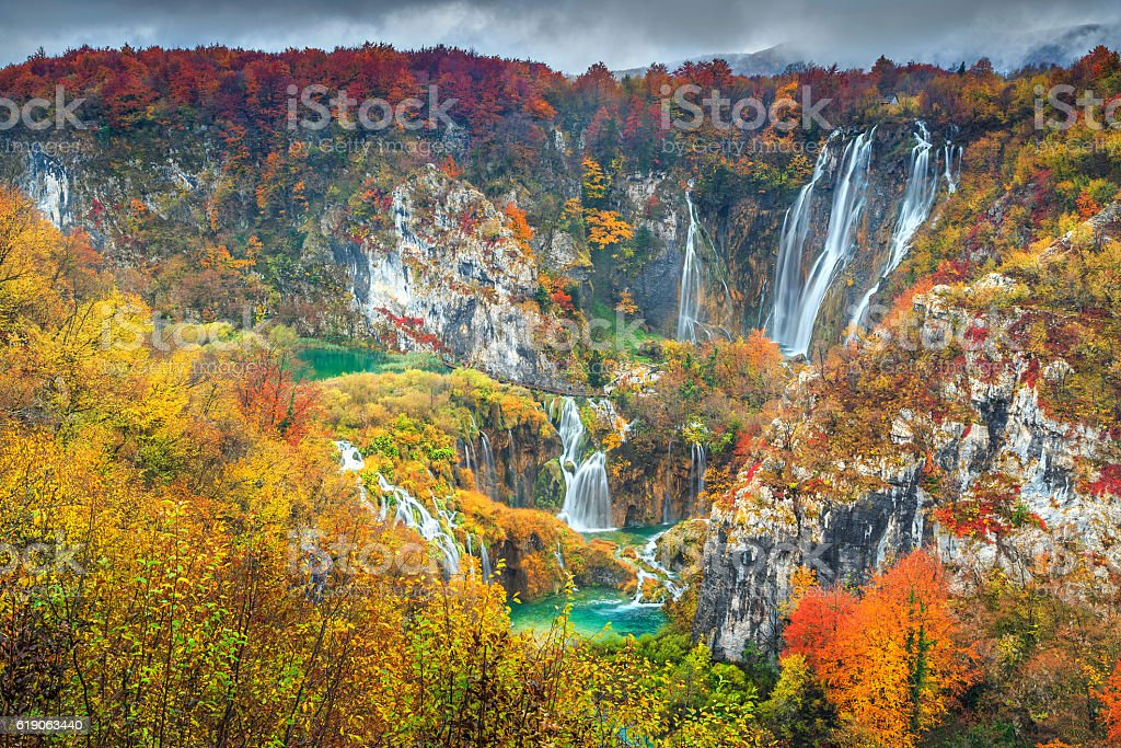 Spectacular autumn landscape with magical waterfalls in Plitvice lakes,Croatia stock photo