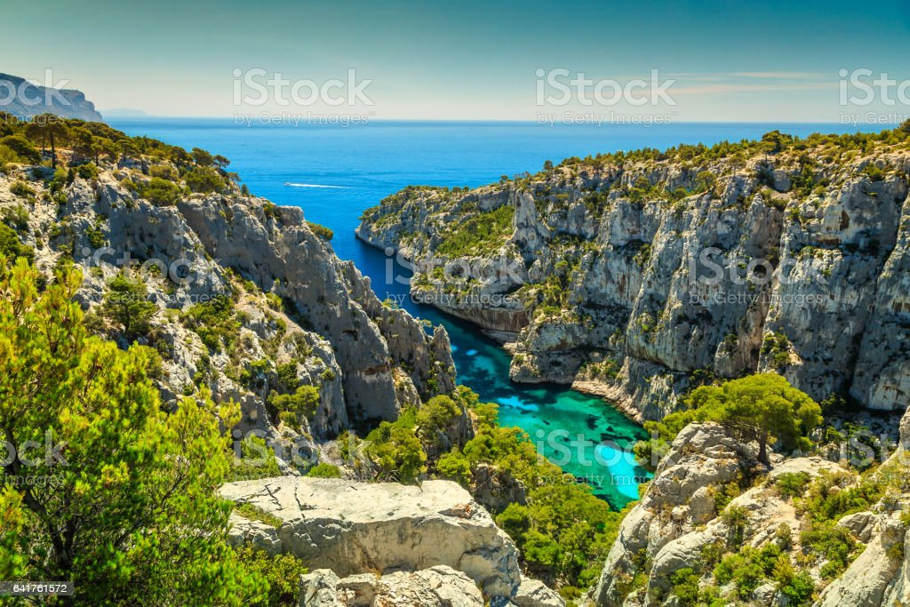 Spectacular Calanques D'En Vau in Cassis near Marseille, France stock photo