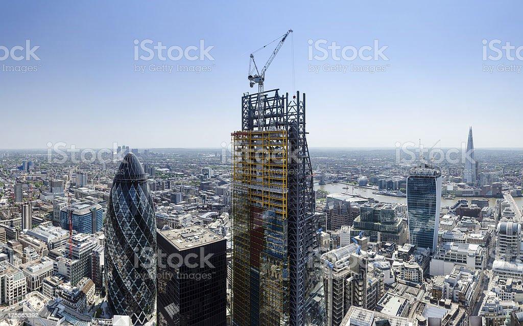 Spectacular City of London skyscraper panorama stock photo