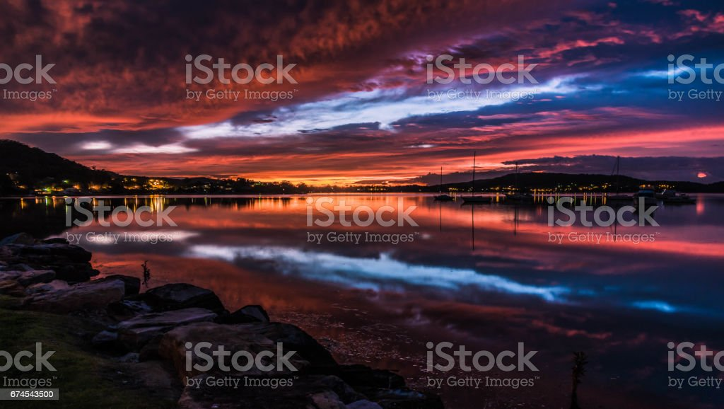 Spectacular Daybreak Waterscape over the Bay stock photo