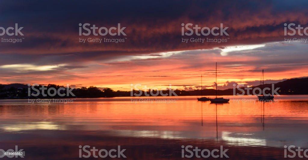 Hydropanorama de Daybreak spectaculaire sur la baie photo libre de droits