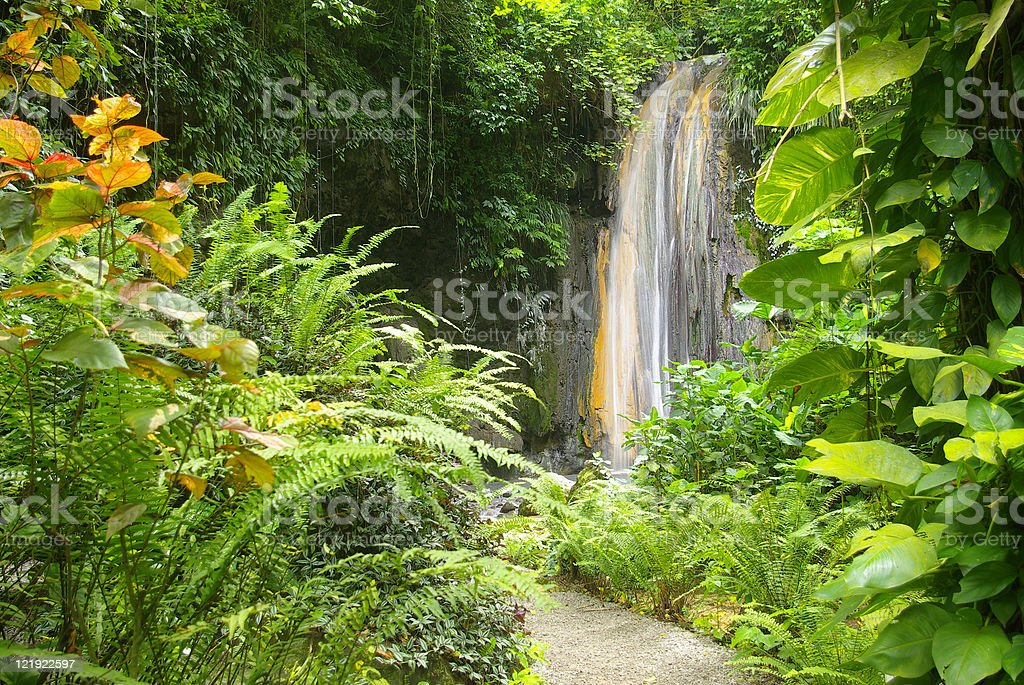 spectacular diamond falls of soufriere st lucia stock photo