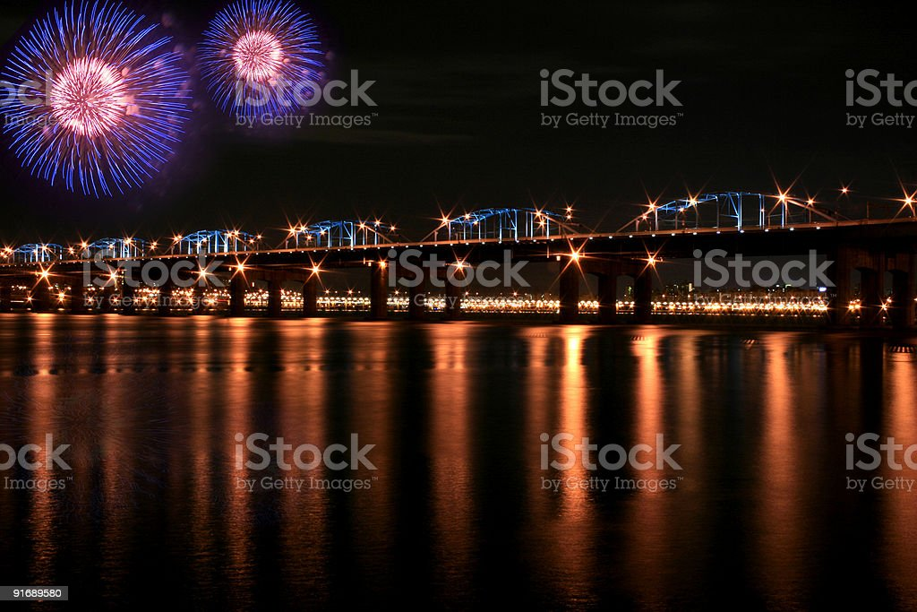Spectacular Fireworks at Han River with Reflection royalty-free stock photo