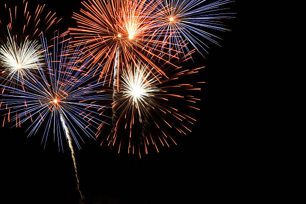 A spectacular fireworks at night stock photo
