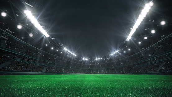 View from the player level. Sport category 3D illustration.