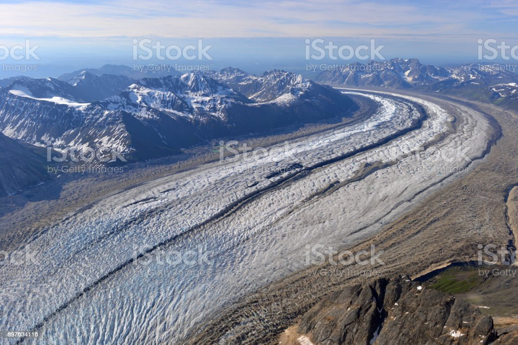 Spectacular glacier and moraines, Alaska, USA stock photo