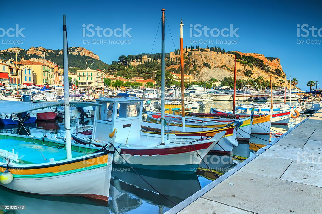 Spectacular harbor with Cap Canaille cliffs,France,Europe stock photo