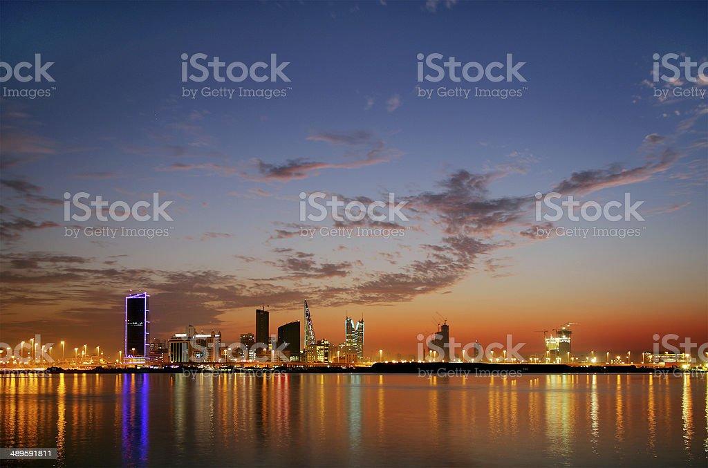 Spectacular HDR photograph of Bahrain Skyline stock photo