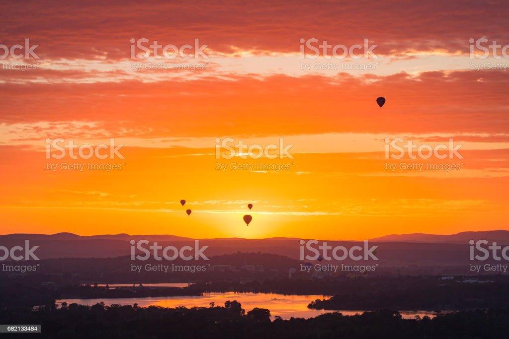Spectacular  Hot Air Balloons Up In The Air In Canberra stock photo