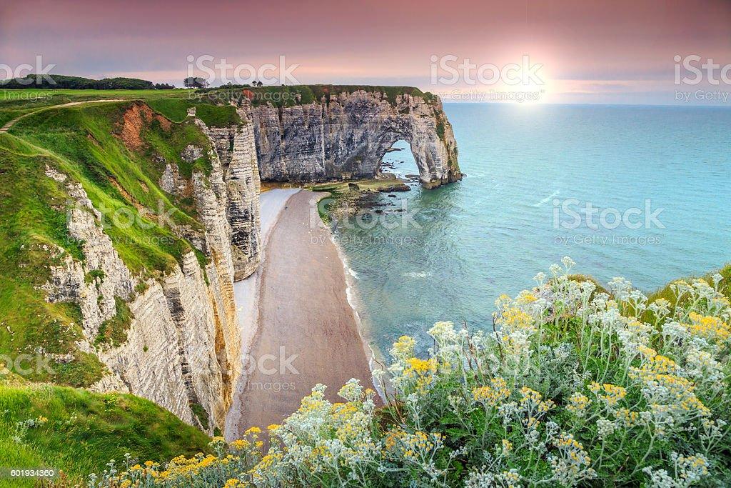 Spectacular la Manneporte natural rock arch wonder,Etretat,Normandy,France – Foto
