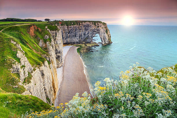 Spectacular la Manneporte natural rock arch wonder,Etretat,Normandy,France – Foto