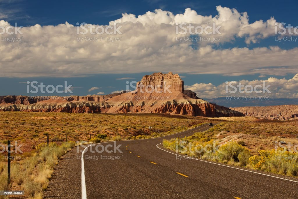 Spectacular landscapes at the entrance to Goblin valley state park in Utah, USA royalty-free stock photo