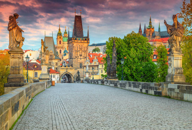 Spectacular medieval stone Charles bridge with statues, Prague, Czech Republic stock photo
