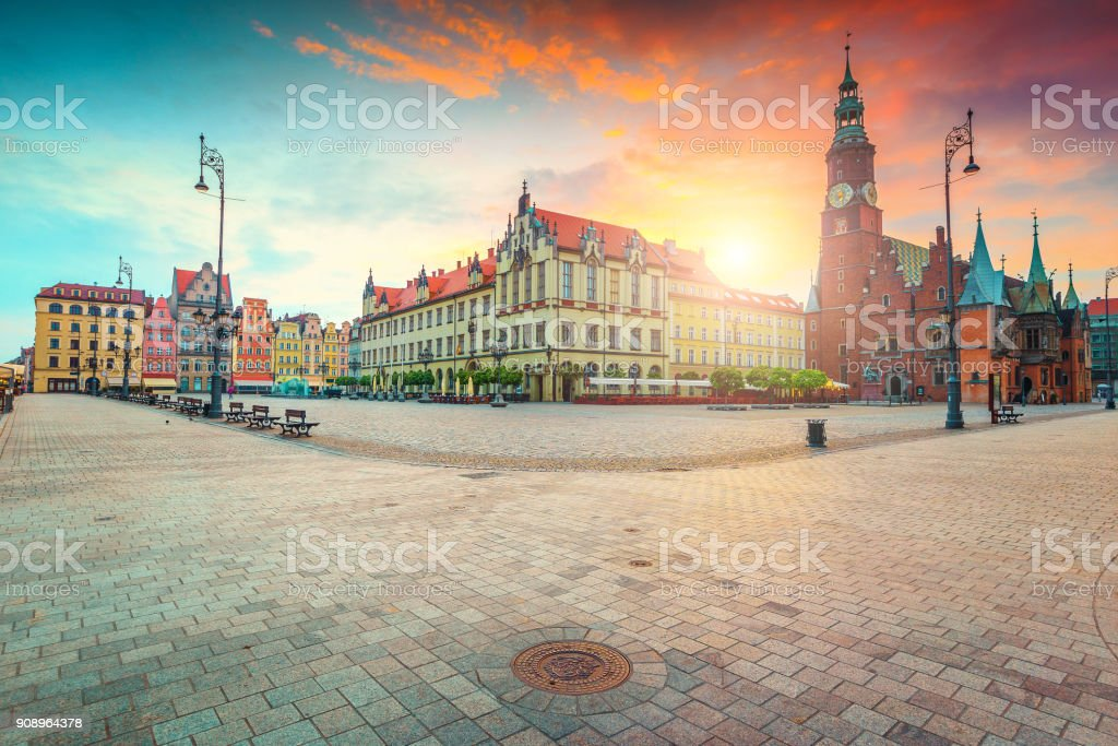 Spectacular morning scene in Wroclaw on Market Square, Poland, Europe stock photo