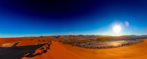 Spectacular morning sunrise at Sossusvlei in the Namib Desert stock photo