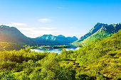 Breathtaking mountain scenery of Lofoten Islands, Norway