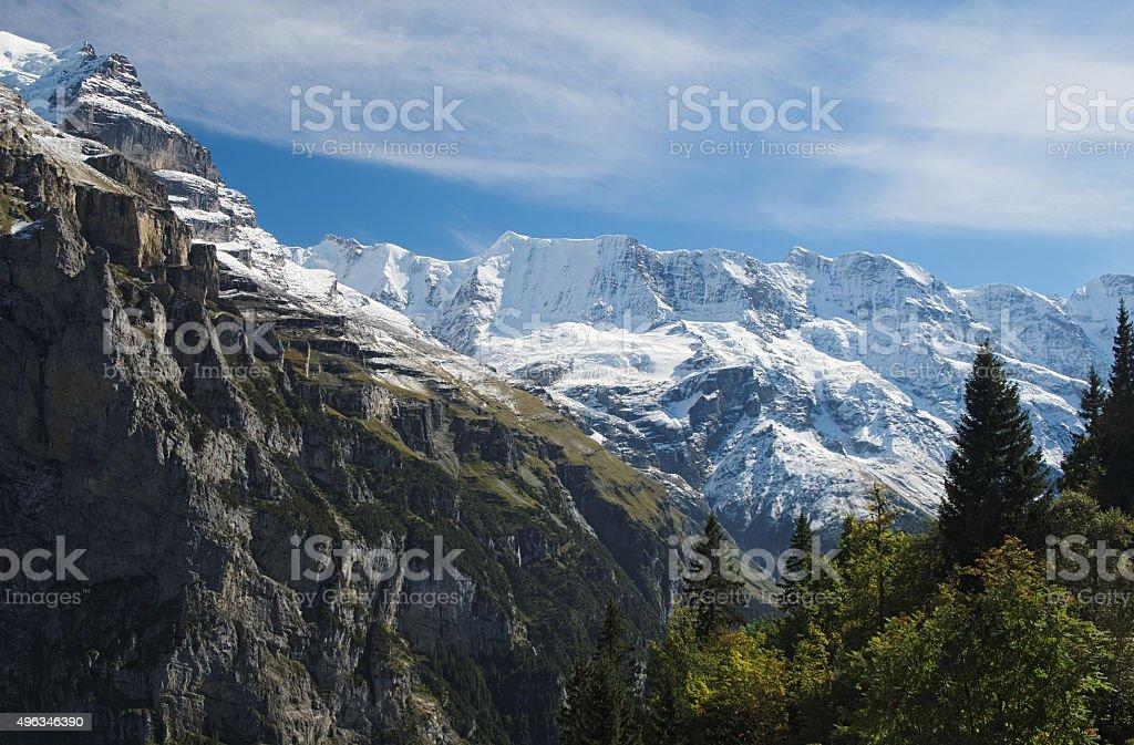 Spectacular mountain views between Murren and Allmendhubel (Berner Oberland, Switzerland) stock photo