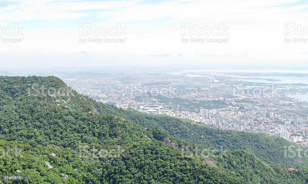 Spectacular panorama and aerial city view of Rio de Janeiro stock photo