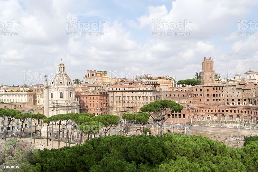 Spectacular panorama of ancient Roman empire - currently Rome, Italy stock photo