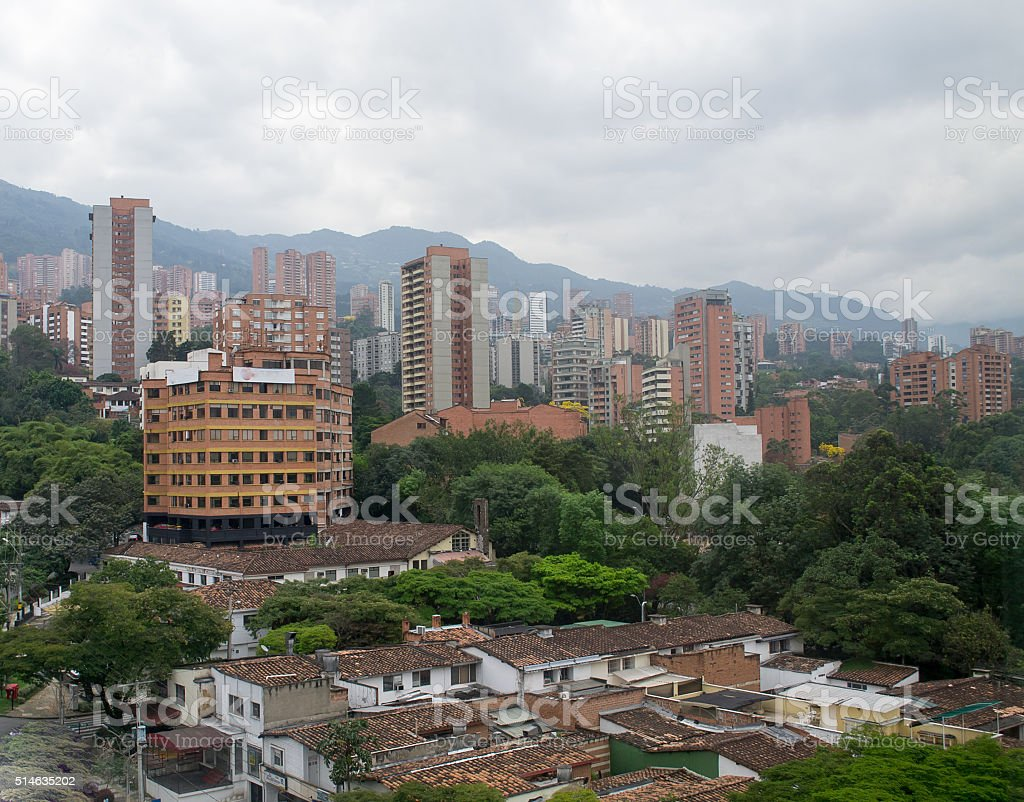 Spectacular panorama of modern South American city Medellin, Colombia stock photo