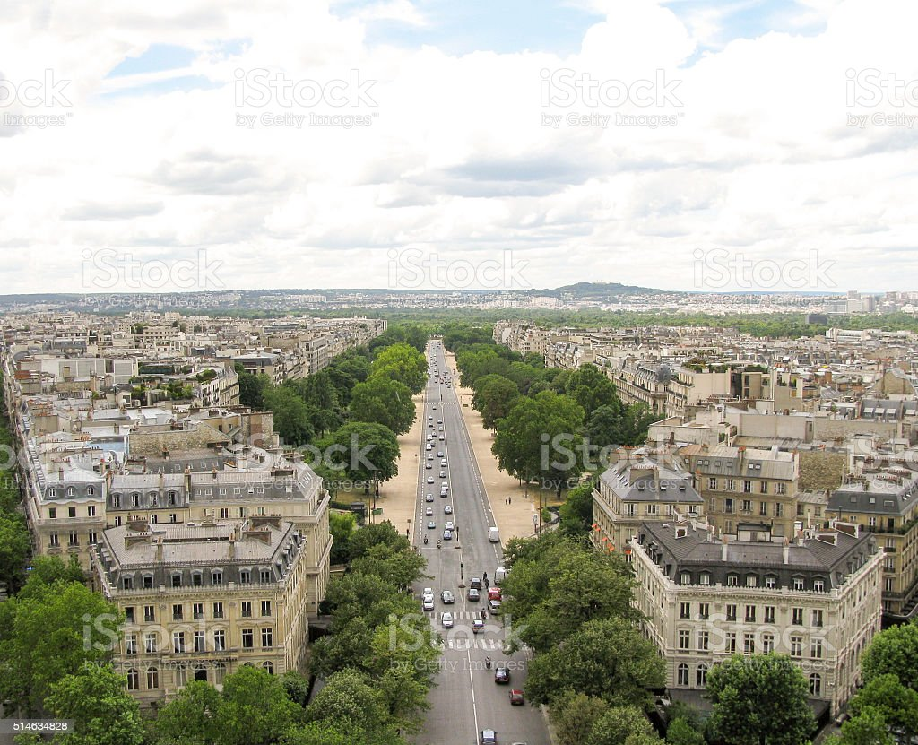Spectacular panorama of Paris, France stock photo