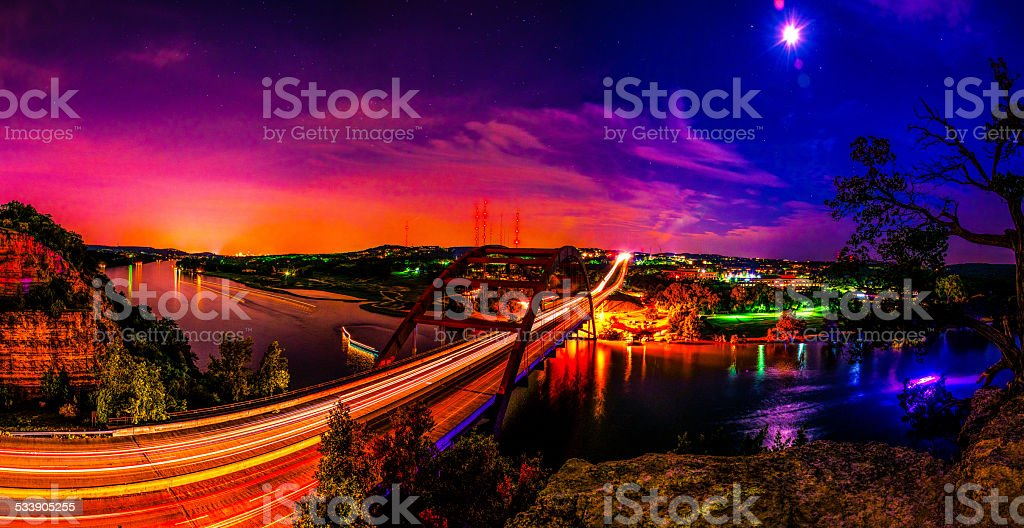 Spectacular Panoramic 360 Bridge Pennybacker Bridge Austin skyline stock photo
