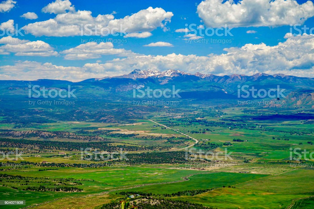 Spectacular panoramic mountain view in Colorado stock photo
