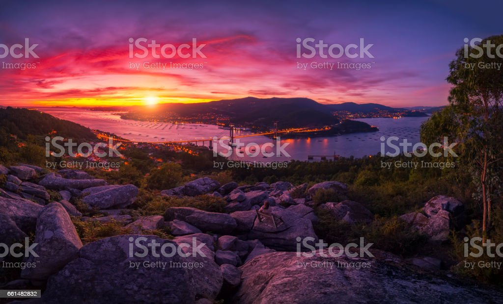 Spectacular panoramic view of Vigo at sunset. stock photo
