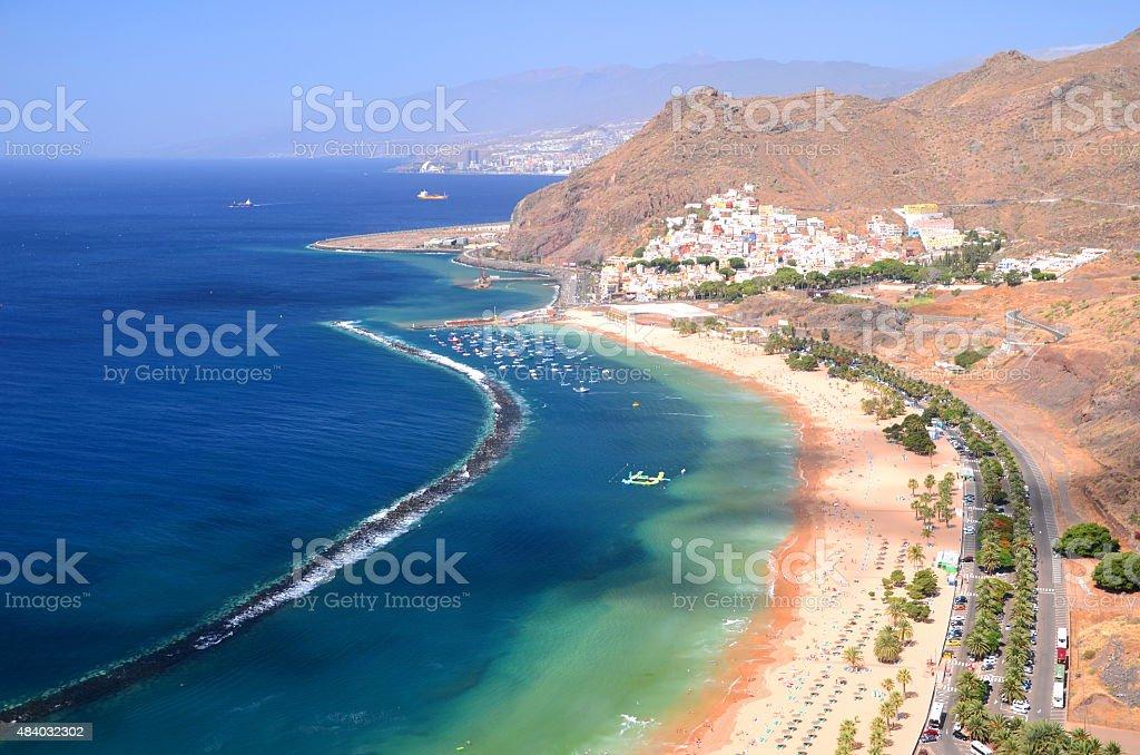 Spectacular picturesque gorgeous view on Teresitas beach on Tenerife island, Spain stock photo